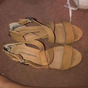 Tan Sandals with a small heel